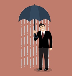 Businessman being wet from raining instead he vector
