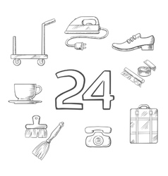Hotel and room service sketched icons vector
