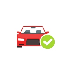 Red car with green checkmark auto check test vector