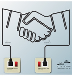Hand shake electric line business infographic vector