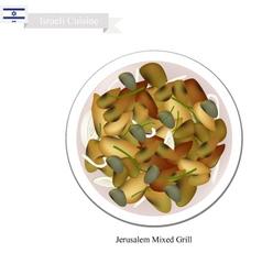 Jerusalem mixed grill one of israel popular dish vector