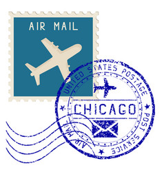 Air mail stamp chicago post round impress vector