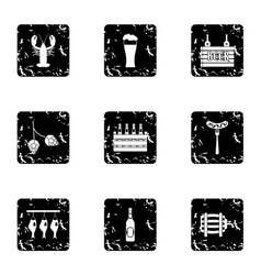 Beer festival icons set grunge style vector