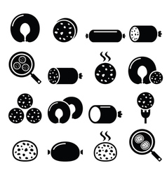 Black pudding sausage haggis white pudding icons vector