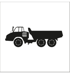 Black silhouette of a dump truck vector image