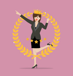 Business woman with golden wreath vector
