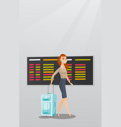 Caucasian woman walking with suitcase at airport vector