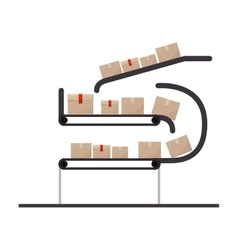 Conveyor belt with sealed packages vector