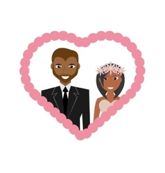 cute couple afro american wedding frame heart vector image