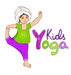 Cute girl doing kundalini yoga vector