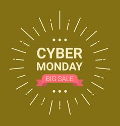Cyber monday logo design big sale event flyer vector