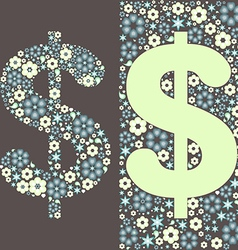 dollar floral pattern vector image