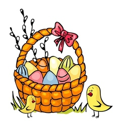 easter basket and chickens vector image