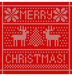 Embroidery christmas card with cross stitch vector