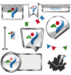 glossy icons with flag of seoul vector image