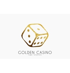 Golden casino logo dice logo casino club poster vector