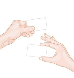 Hand hold a blank card vector