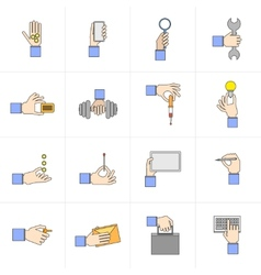 Hand holding objects flat set vector image vector image