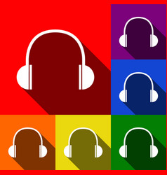 headphones sign set of icons vector image