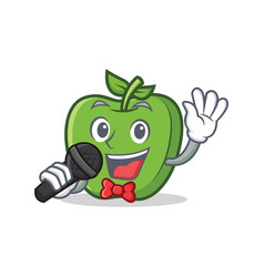 Karaoke green apple character cartoon vector