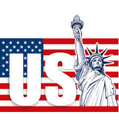 Liberty statue nyc usa symbol usa flag vector