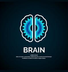 logo brain color silhouette on a dark vector image
