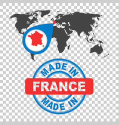 Made in france stamp world map with red country vector
