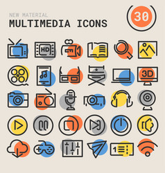 Multimedia bold linear icons vector