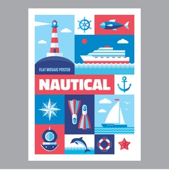 Nautical - poster with icons in flat design vector image
