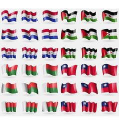 Paraguay western sahara madagascar taiwan set of vector