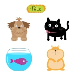 Pets isolated cute set white vector