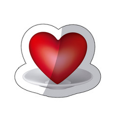 Red heart inside the plate icon vector