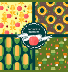 Set of autumn harvest patterns vector