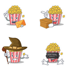 Set of popcorn character with envelope box witch vector