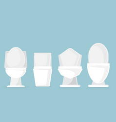 Set of toilet bowls in bathroom vector