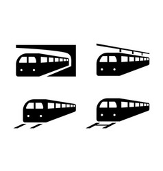 Set of train icons in silhouette style vector