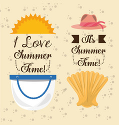 Set summer icon over the soft sand vector