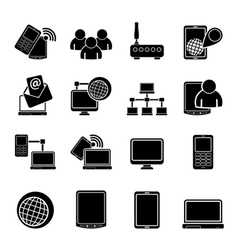 Silhouette communication and technology equipment vector