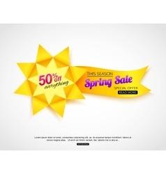 Spring sale banner Paper sale banner vector image vector image