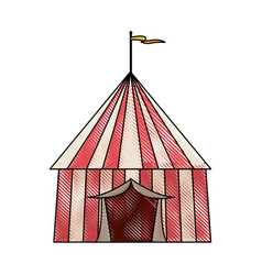 Striped strolling circus marquee tent with flag vector