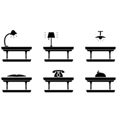 Table icon for living room food and office vector