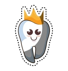 Teeth funny character with crown kawaii style vector