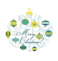 Vintage christmas card with balls vector