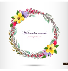 Watercolor wreath with flowersfoliage and branch vector image vector image