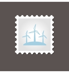 Windmill stamp Outline vector image