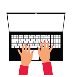 Woman hand on laptop vector