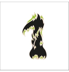 Fiery font black and green number 1 on white vector