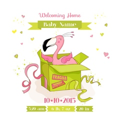 Baby shower or arrival card - baby flamingo girl vector