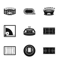 Game at stadium icons set simple style vector image