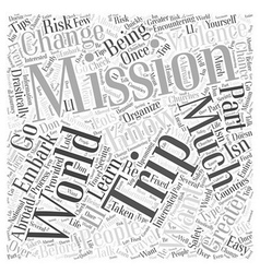 Mission trips word cloud concept vector